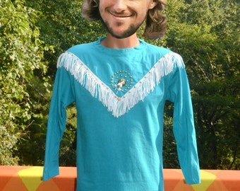 vintage 80s t-shirt FRINGE rodeo native american rhinestone cowboy long sleeve tee shirt Small Medium teal yoke