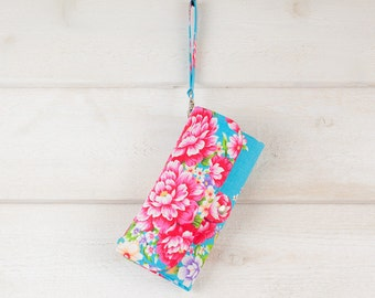 SmartPhone Purse 12x - Ultimate Wallet Clutch with ID pocket n wristlet strap / Hakka Florals in Turquoise -- Ready to Ship