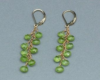 Long Peridot Earrings, Leverbacks, Green Peridot, Gold Filled or Silver, August Birthstone, Long Dangle Earrings