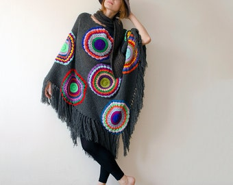 Plus size clothing Plus Size Grey Circle Poncho - MADE TO ORDER Plus Size Women's Cape, Blue Red Green, Winter Clothing