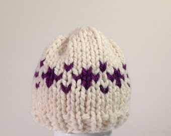 Knit Baby Hat, Baby Girl hat, Fair Isle Baby Hat, Hand Knit Baby Hat, Cream and Purple