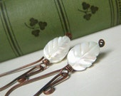 Mother of Pearl Leaf Earrings, Copper Dangle Earrings, White Leaf Earrings, White Shell Earings, Carved Mother of Pearl