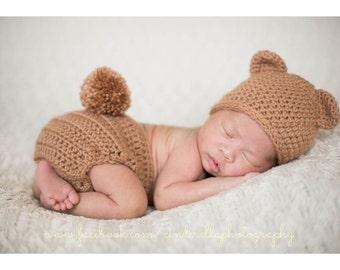 Bear hat diaper cover set , Bear Hat ,  animal hat , bear hat , photography Prop , newborn photo prop, infant , crochet baby outfit