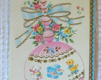 Vintage Embossed Greeting Card - To Welcome Your New Baby - unused with envelope - sweet