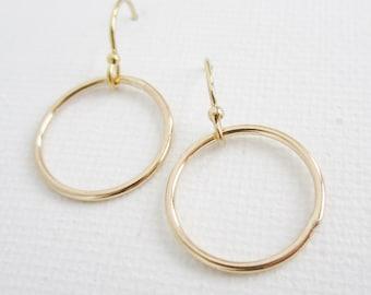 Gold bridesmaid earrings, gold earrings, eternity circle earrings, bridesmaid gift, gold bridesmaid jewelry, dainty everyday earrings