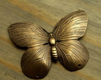 Brass Butterfly Charm - Hand Antiqued Brass Butterfly Charm - Extra Large - Patina Queen - 1