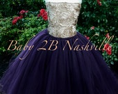 Vintage Gold and Plum Flower Girl Dress Wedding Flower Girl Dress Satin Rosette Dress  All Sizes