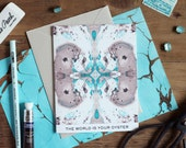 The World Is Your Oyster Turquoise and Taupe Tiled Marble Greeting Card / Marble Pattern XVII