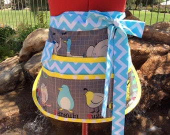 ABC with Me Animal Alphabet Teacher Utility Apron, Back to School, Half Apron with 6 pockets, Great for Vendors, Sewing, Crafts, Cleaning