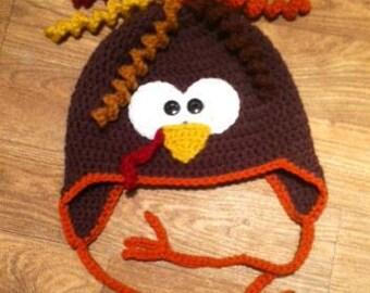 Crochet Turkey Hat - Choose Size