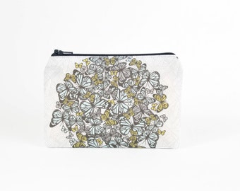 Butterfly Mini Zipper Pouch / Pretty Make Up Bag in Gray and Aqua Butterfly Cluster