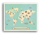 Global Compassion World Map Wall Art on Gallery Wrapped Canvas, 24x18 or 36x24, Animal World Map, Kid's Room, Gender