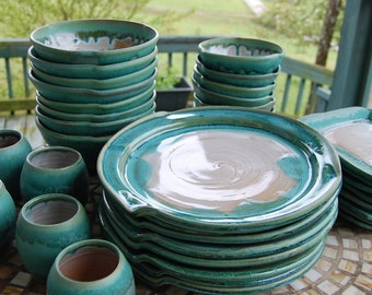 Eclectic Dinnerware Set of 6 Place Settings in Turquoise and White - Made to Order