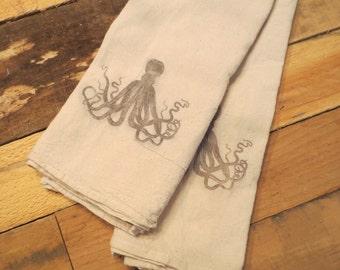 PAIR of Octopus Organic Cotton Flour Sack Tea Towels