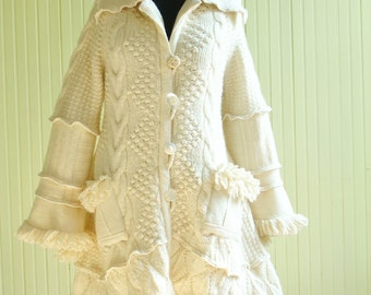 Winter White Upcycled Sweatercoat, Size Medium /Large