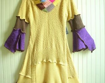 Size Small/Upcycled Knit Dress/ Cotton Yellow Dress/Bohemian Dress/ brenda abdullah