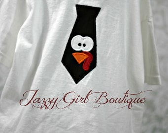 Thanksgiving Turkey Face Tie Shirt  12mo, 18mo, 2, 3 and 4 Short Sleeve, Onesies also Available