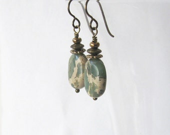 Impression Jasper Aqua Terra Stone Earrings, Bronze Niobium Hooks, Rustic Sage Green and Tan