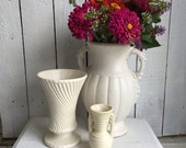 Vintage Pottery Vase - Nelson McCoy Acanthus 12 inch White Matte