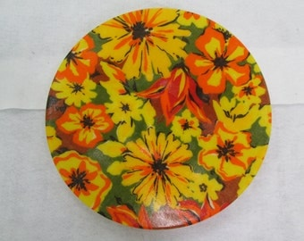 Yellow Fiberglass Platter Vintage Floral Reds Oranges Yellows Shabby Chic