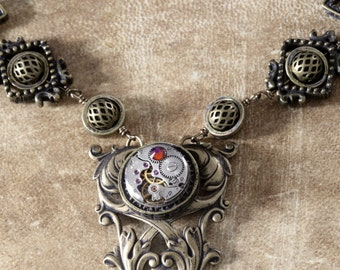 Steampunk Neo Victorian Jewellery - Necklace - Antique Watch Movement and swarovski crystal