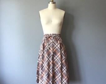 vintage 70s plaid skirt / aline wrap skirt / s m