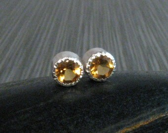 Small Citrine Stud Earrings in Golden  - 4mm Yellow Bezel Set Stud Earrings - November Birthstone Earrings - Genuine Natural Gemstones
