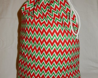 Christmas Fabric Gift Bag  Eco Friendly Bag  Drawstring Reuseable wrap --size 10 inches x 12 inches small Red and Green Chevron