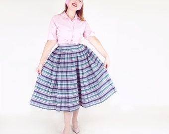 "50s Navy, Pink, Green and White Stripe Pleated Full Skirt 28"" waist"