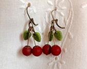 osO SWEET CHERRIES Oso red/green czech glass cherry earrings