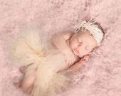 Half Tutu, Newborn Tutu Skirt, Ivory Tutu, Newborn Photo Prop, Tulle Skirt, SEWN Tutu, Baby Tutu, Infant Tutu, Photography Prop, Custom Tutu
