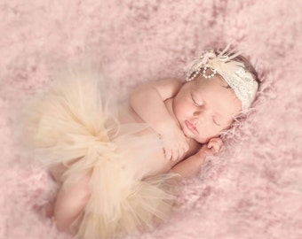 Half Tutu, Newborn Half Tutu, Photo Prop, SEWN Custom Newborn Tutu, Tutu Photo Prop, Baby Girl Tutu, Special Introductory Price
