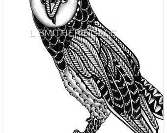 Zentangle-Inpired Barn Owl Print - Unmatted