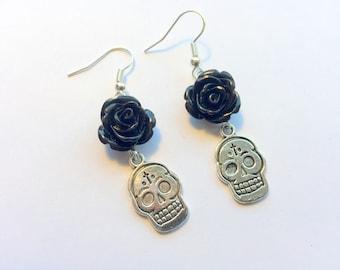 Sugar Skull Earrings Day of the Dead Black Rose Silver
