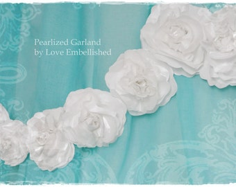 White Paper Flowers Garland Simply Elegant Pearlized Paper Roses Swag 6 ft with 18 Roses