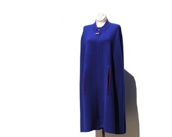 Suddenly Sapphire Blue and Red Trim Knit Cape
