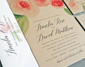 NEW Amelia Kraft Watercolor Rose Floral Wedding Invitation Sample - Beautiful Script, Pink and Red Watercolour Flowers