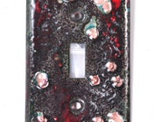 Free Shipping! Ready to Ship! Zombie Blood Handmade Enameled Light Switch Plate Cover