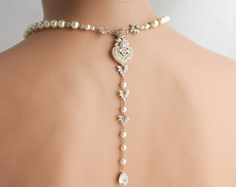 Wedding Jewelry Gold Backdrop Necklace Long Back Drop Bridal Necklace Pearl Crystal Wedding Necklace EVIE