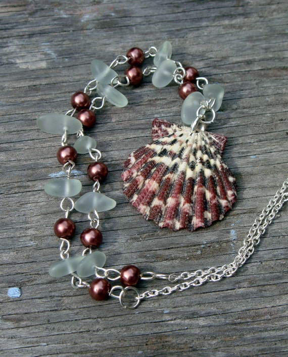 Cape Cod Sea Glass And Glass Pearl Necklace With Scallop