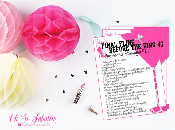 Wild and Crazy Bachelorette Party Scavenger Hunt /// Personalized and Printable /// As Seen on Buzzfeed