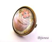 Cupcake ring - Cupcake cake ring - Cupcake brown ring - Cupcake ring - Cupcake jewelry r808