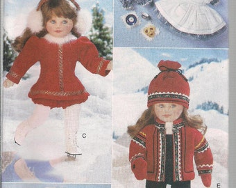 Vogue Craft 9579 18 Inch Doll Winter Wardrobe, Dresses, Jacket, Hat, Mitten, Boots, Jumpsuit and More