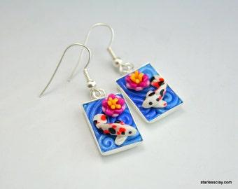 Koi Pond Earrings in Polymer Clay Filigree
