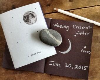 Lunar Log Cover + 4 Pages - Digital - Printable PDF, Montessori, Educational, Notebook, Moon, Stars