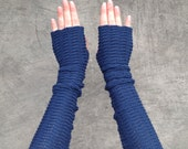 Fingerless Gloves Blue Arm Warmers Mittens Merino Wrist Warmers Mitaines Arm Stulpen
