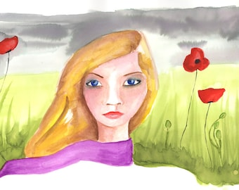 Invincible, Print From Original Watercolour Whimsical Painting Fashion Illustration