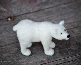 Felted Sculpture- Needle Felted Polar Bear