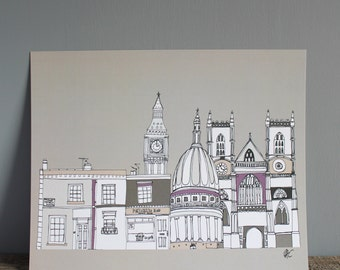 London Skyline Illustration Print 8x10