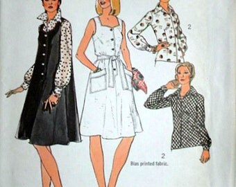Misses' Tent Dress Or Jumper And Blouse, Simplicity 6449 Vintage 70's Sewing Pattern, Size 12, 34 Bust, Uncut Factory Folded